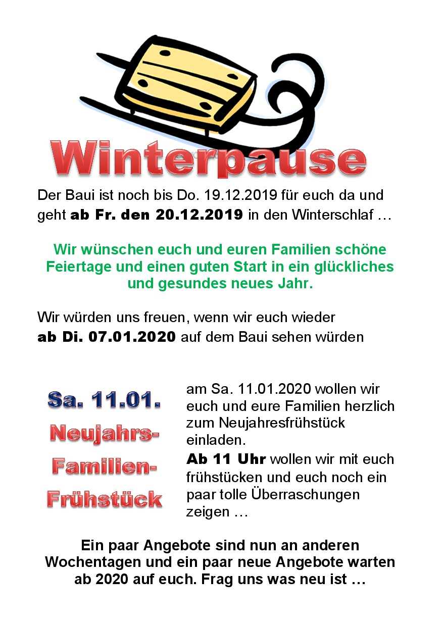 Aushang Winterpause